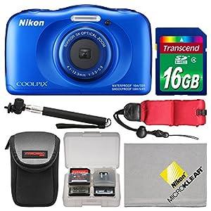 Nikon Coolpix W100 Wi-Fi Shock & Waterproof Digital Camera (Blue) with 16GB Card + Case + Selfie Stick + Float Strap + Kit