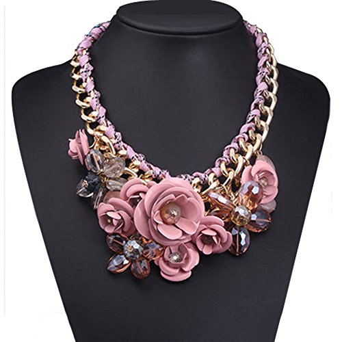 Vintage Pink Statement Pendant Necklace Flower Bubble Bib Chunky Golden Chain Pendant Cheap Jewelry Gifts