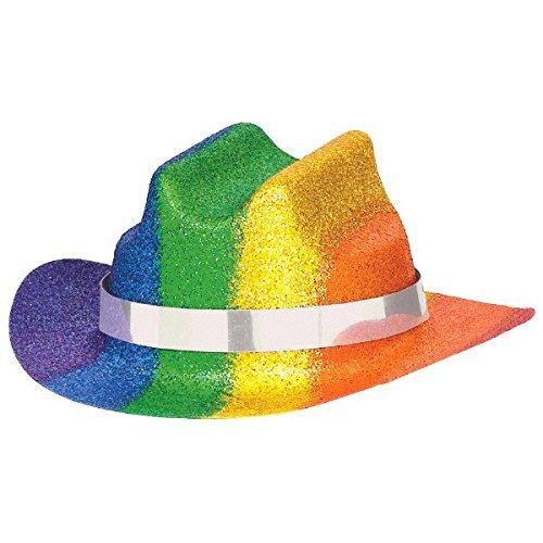 Rainbow Cowboy Hat (Rainbow Glitter Mini Cowboy Party Hat Costume Headwear, Plastic, 2