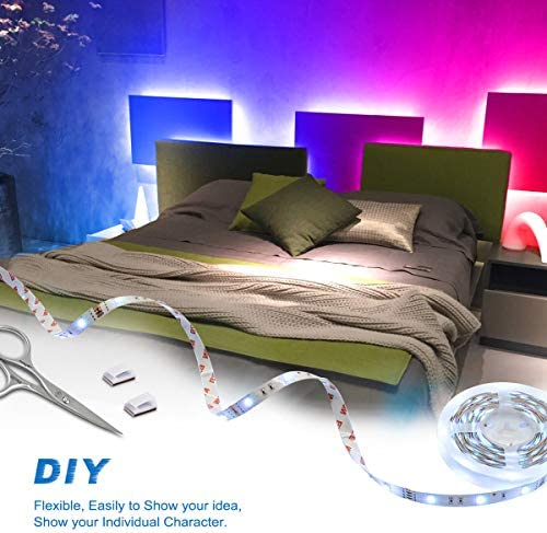 Bason Led Strip Lights, 16.4ft Led Lights for Bedroom, 12V Adapter Powered Color Changing Room Lights with Remote, SMD 5050 Gaming Lights with 4096 DIY Colors, for Wall Kitchen Home Christmas Decor.