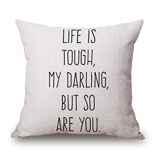 SODIAL(R) 18inch Home Linen Car Sofa Bed Decor Waist Cushion Pillow Case Cover LIFE IS TOUGH MY DARLING, BUT SO ARE YOU