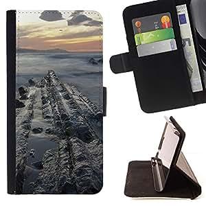 For Apple iPhone 5C Case , Sunset Sea Cliffs Ocean Nubes Azul- la tarjeta de Crédito Slots PU Funda de cuero Monedero caso cubierta de piel