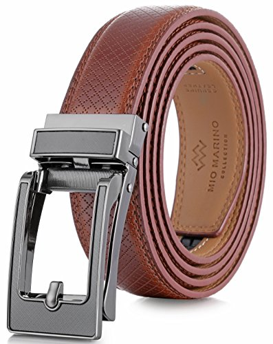 Marino Avenue Mens Genuine Leather Ratchet Dress Belt with Open Linxx Leather Buckle, Enclosed in an Elegant Gift Box - Burnt Umber - Style 162 - Custom Up to 44