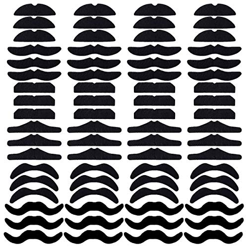 Codall 72pcs Novelty Fake Mustaches, Mustache Party Supplies, Self Adhesive Mustaches for Masquerade Party & Performance ()