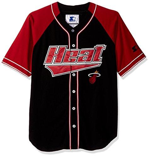 STARTER NBA Miami Heat Men's The Player Baseball Jersey, 6X, Black