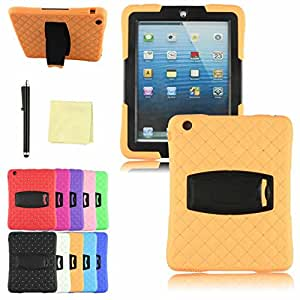 WensLTDTM Premium Quality 2014 Anti-skid Stand Dual Layer Hybrid Protective Cover Case for iPad 2 3 4 Orange