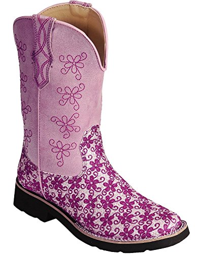 Roper Square Toe Floral Glitter Western Boot ,Pink/White,9 M