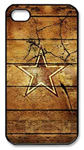 LZHCASE Personalized Protective Case for iPhone 4/4S - NBA Sports NFL Sports Dallas Cowboys Logo in Wood Background
