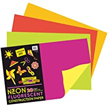 Pacon Neon Construction Paper, Heavyweight, 12 x 18 Inches, Assorted, 20 Sheets (104303)