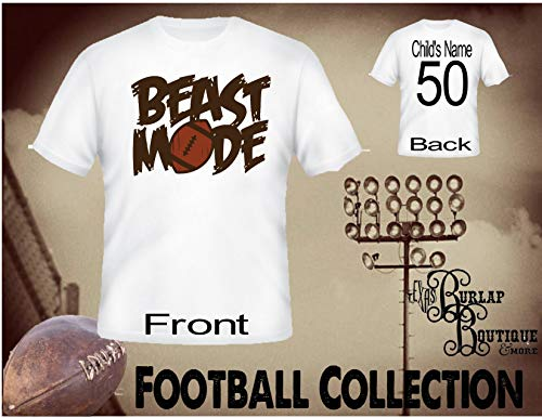 (Handmade Personalized Football Shirt, Beast Mode, Tee, T - Shirt, Tshirt, Football Quotes, Kids, Girls, Adult, Sizes XS - 3XL Several colors)