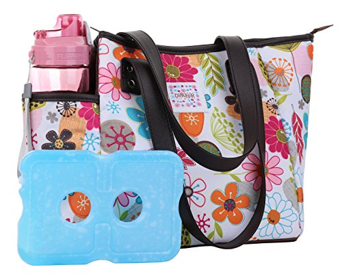Lunch Bag Set by Dimayar Lunch Box with Ice Pack and 20 oz Matching Water Bottle,Full Zipper Closure Insulated Lunch Bag Lunch Boxes for Adults Flora Lunch Tote for Lunch