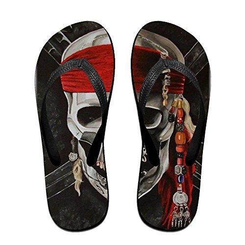 Pirate Crâne Art Sombre Femmes Plage À Bout Ouvert Peep-toe Caoutchouc Classique Flip Flops Intérieur Et Extérieur Sandales Pantoufles Noir