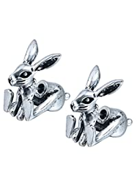 Vintage Earrings Antique Silver 3d Fake Gauge Bunny Rabbit Animal Earrings Jewelry for Women and Girls