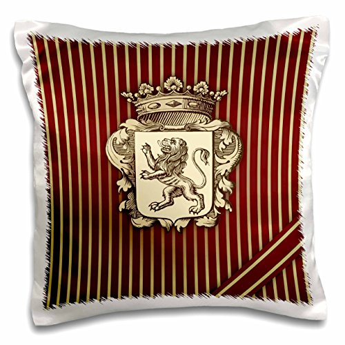 (3dRose pc_220172_1 Aristocratic Crest with Rampant Lion Over Maroon Vertical Stripe - Pillow Case, 16 by 16