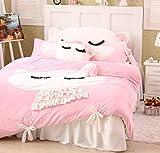 FADFAY DIAIDI Home Textile,Cute Cat Bedding Set,Girls Polka Dot Bedding Set X-Queen
