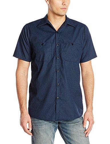 Red Kap Men's Durastripe Work Shirt, Navy/Light Blue Twin Stripe, Short Sleeve X-Large