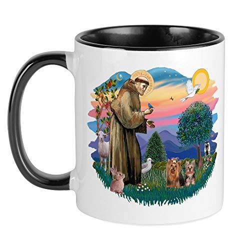 (CafePress St Francis / 2 Yorkshire Terriers Mug Unique Coffee Mug, Coffee Cup)