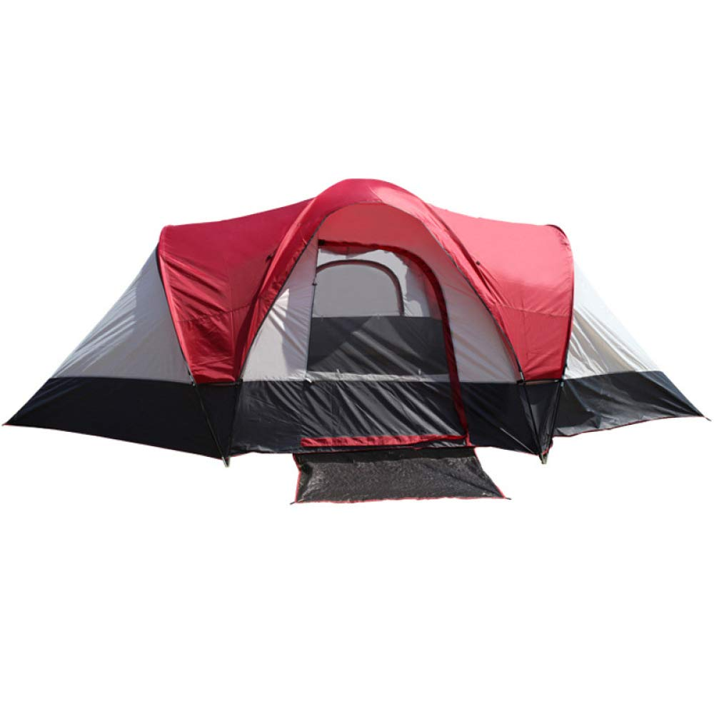 LBAFS Tente De Plage Double Couche Anti-tempête De Pluie Pour Le Camping En Plein Air Family Party Travel, 5-8 Personne,ROTandWeiß