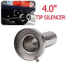 "Universal Stainless Steel 4"" Round Exhaust Muffler Exhaust Tip Removable Silencer for Acura Honda Ford"