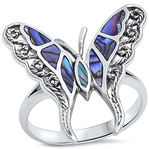 Simulated Abalone Butterfly Sterling Silver product image
