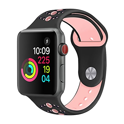 GHIJKL Sports Band Compatible Apple Watch 38mm 40mm, Soft Silicone Replacement iWatch Wristband Apple Watch Sport, Series 1, 2, 3, 4-Black/Pink-38mm, 40mm