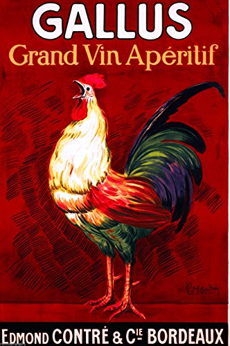 Gallus Grand Vin Aperitif Rooster Chicken Bordeaux French France Liqueur Wine Vintage Travel advertisement Art Poster Print . Poster measures 10 x 13.5 (Bordeaux Rooster)