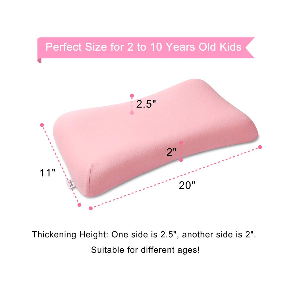 Organic Cotton Cover Breathable Kids Pillow 20 x 11 x 2 Aloudy Memory Foam Toddler Pillow Pink 2.5 for 2-10 Years Old Children
