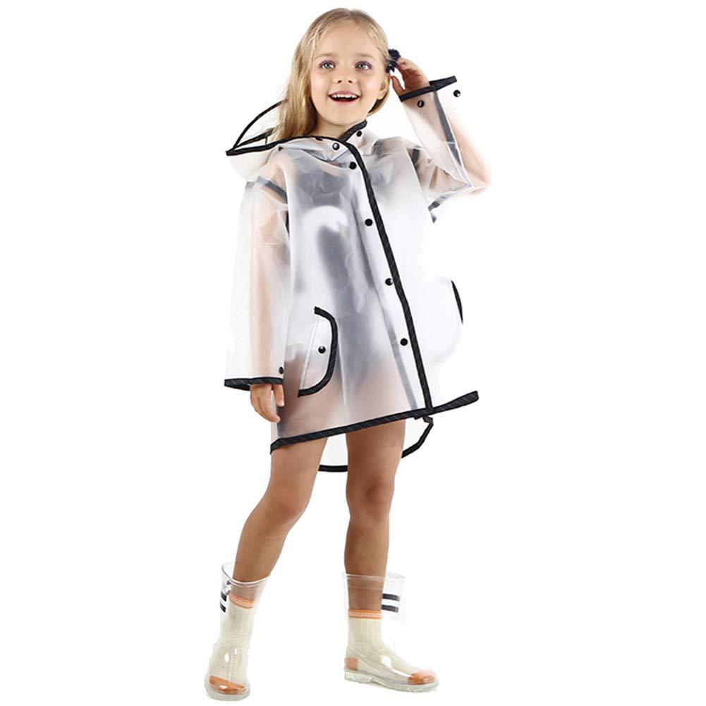 Kids Raincoat EVA Rain Poncho,Portable Hooded Poncho Jacket Rain Coat for Boys Girls Children