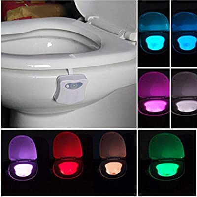 DZT1968 Body Sensing Automatic LED Motion Sensor Night Lamp Toilet Bowl Bathroom Light