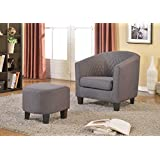 US Pride Furniture Isabella Fabric Accent Chair and Ottoman, Gray