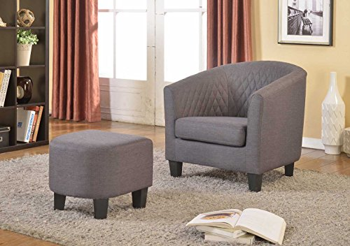 Container Furniture Direct Isabella Collection Contemporary Quilted Fabric Upholstered Living Room Accent Chair and Ottoman, Grey