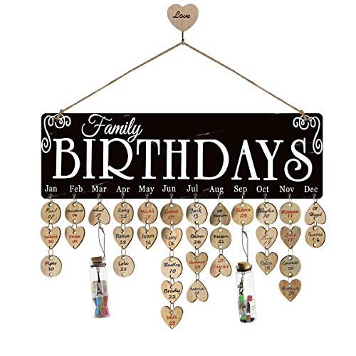 Airelon Birthday Reminder Calendar, Pure Natural Wood Handmade Anniversary Holiday Reminder Wall Hanging Plaque Calendar Board for Kids Friends Decoration Crafts for Family Friends (#02) ()