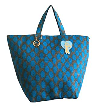 Large Woven Beach Tote Bag from Sarit (BLUE)