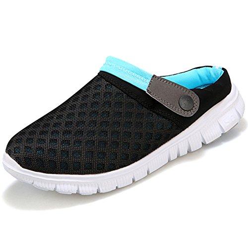 Mules Pantoletten Clogs Slippers Herren Leisure Hausschuhe Summer Sandalen Damen Breathable Schuhe Blau Mesh Gartenschuhe CnFxwzq