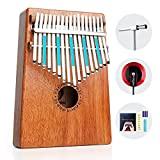 Vangoa 17 keys Kalimba Thumb Piano kit Finger Piano, Portable Mahogany Wood African Music Instrument with Tuning Hammer, Cloth Bag, pickup and key stickers