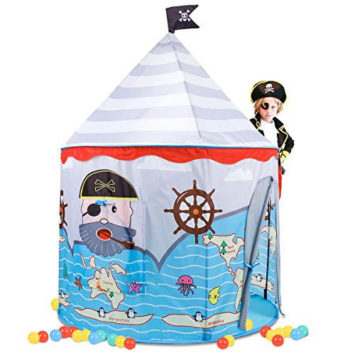 Pop Up Pirate Ship - Springbuds Pirate Children Play Tent, Pop Up Play Tent for Kids, Portable Playhouse for Indoor&Outdoor Use