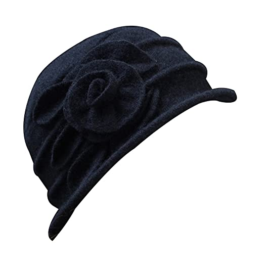 Potato001 Vintage Women Wool Church Cloche Flapper Hat Lady Bucket Winter  Flower Cap (Black) da11bcda3aed