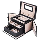 SONGMICS Children's Day Black Leather Jewelry Box Travel Case and Lock Storage Case Organizer UJBC121B
