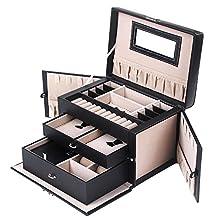 SONGMICS Children's Day Black Leather Jewelry Box Travel Case and Lock Storage Case Organizer UJBC121B