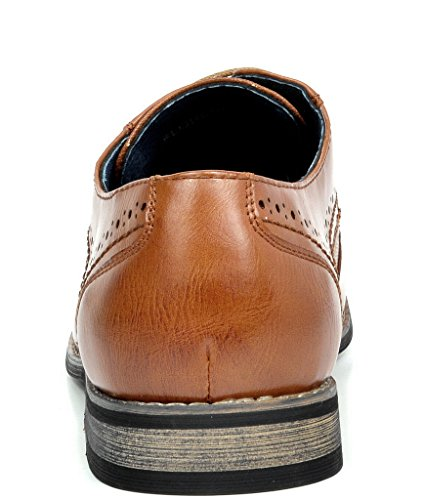 Bruno MARC FLORENCE Mens Oxford Modern Classic Brogue Lace Up Leather Lined Perforated Wing tip