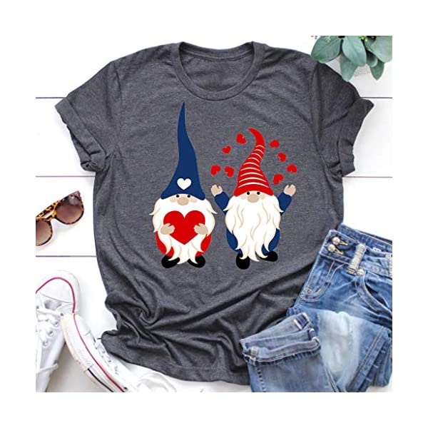 Facaiafalo Womens Valentines Day T Shirt Cute Funny Gnome Graphic Print Short Sleeve O Neck Tee Tunic Blouse Tops