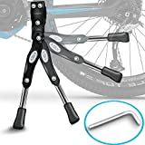 """KSEV Bicycle Kickstand - Adjustable Strong Durable Aluminum Alloy Side Anti-Slip Stand Fits 20"""" 24"""" 26"""" inch wheel tire cycling mountain bike, 2-in-1 Hex L-key included for installation(Black)"""