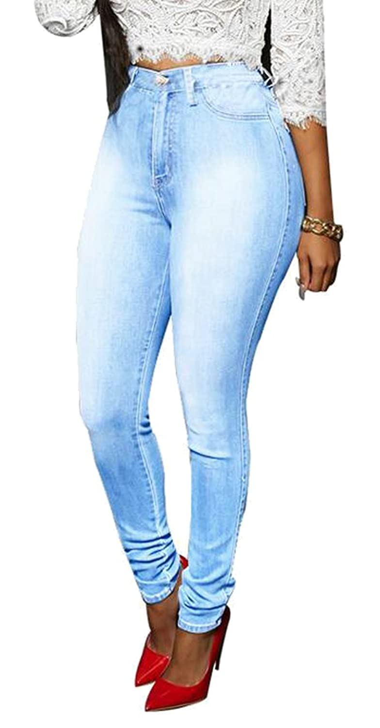 Oberora Womens High Waist Stretch Washed Denim Jeans Pants Trousers