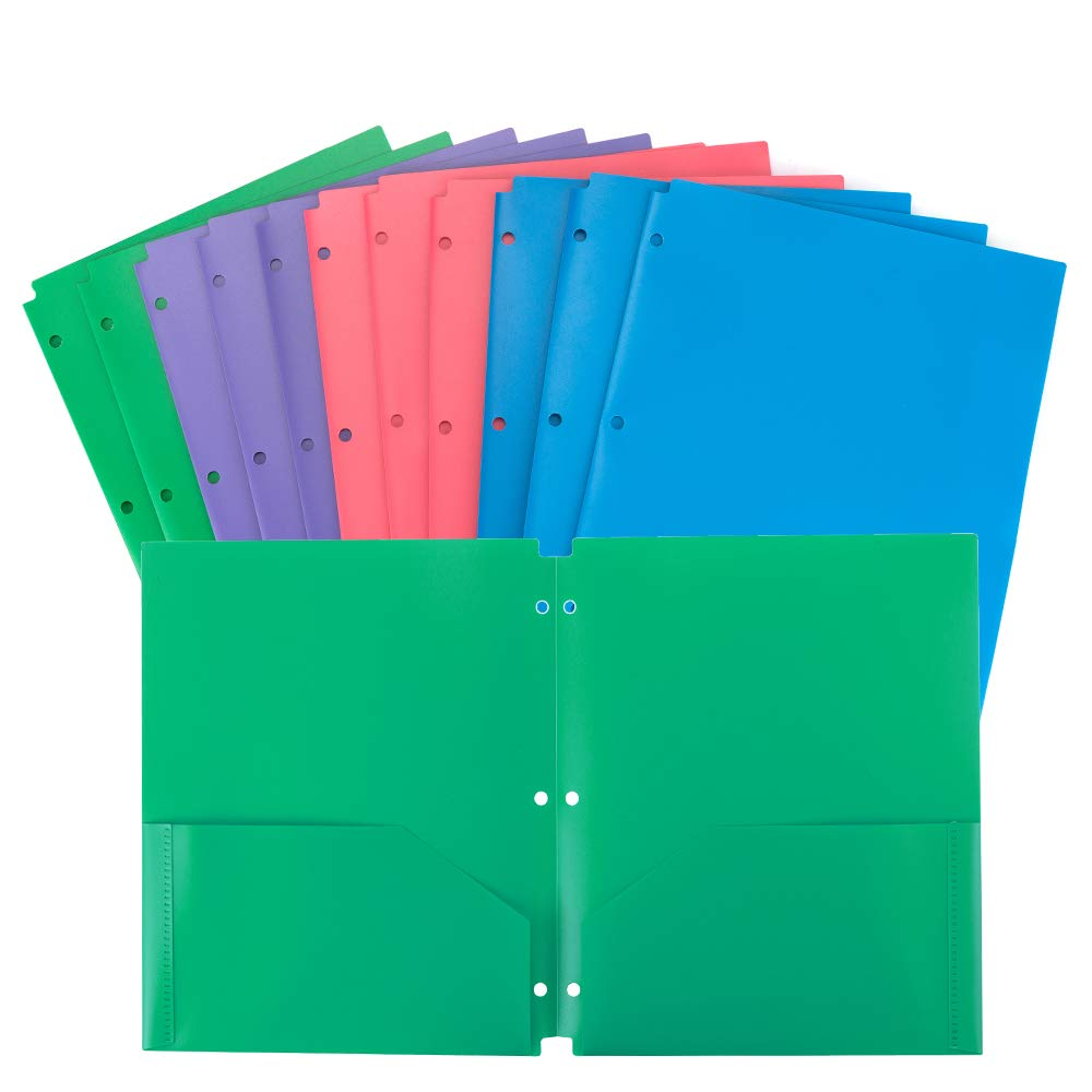 WOT I Plastic Folders with 2 Pockets and 3 Holes,Letter Size, Assorted Colors,12 Pack Multicolor for Great for School, Home and Office use by WOT I