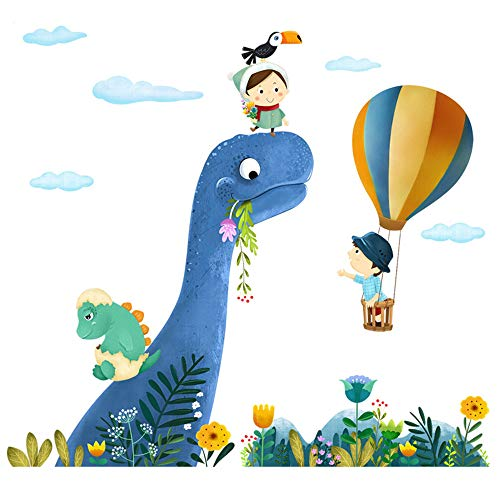 ufengke Dinosaur Wall Stickers Hot-air Balloons Wall Decals Art Decor for Kids Bedroom Nursery