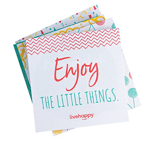 Live Happy Self Stick Notes, 3 inch x 3 inch, 5 Pads/Pack, 50 Sheets/Pad (10 Inspirational/Encouraging Messages on Sticky Notes)