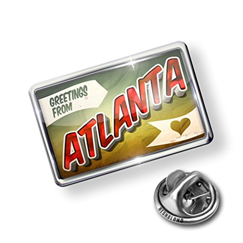 Atlanta Pin (Pin Greetings from Atlanta, Vintage Postcard - Lapel Badge - NEONBLOND)