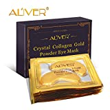 #10: ALIVER 10pack Crystal 24K Gold Collagen Eye Mask - Anti Aging, Wrinkles, Moisturising, Blemishes, Firming, Toning, Dark Circles, Smoothing Skin, Natural Lift