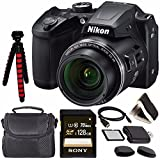 Nikon COOLPIX B500 Digital Camera (Black) 26506 + Sony 128GB UHS-I SDXC Memory Card (Class 10) + Flexible 12 Tripod + Small Soft Carrying Case + HDMI Cable + Card Reader + Memory Card Wallet Bundle