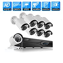 WGCC 8PCS 1080P HD Outdoor Indoor Home Security PoE IP Camera System with 8 Channel 1080P HDMI NVR System with 2TB Hard Drive